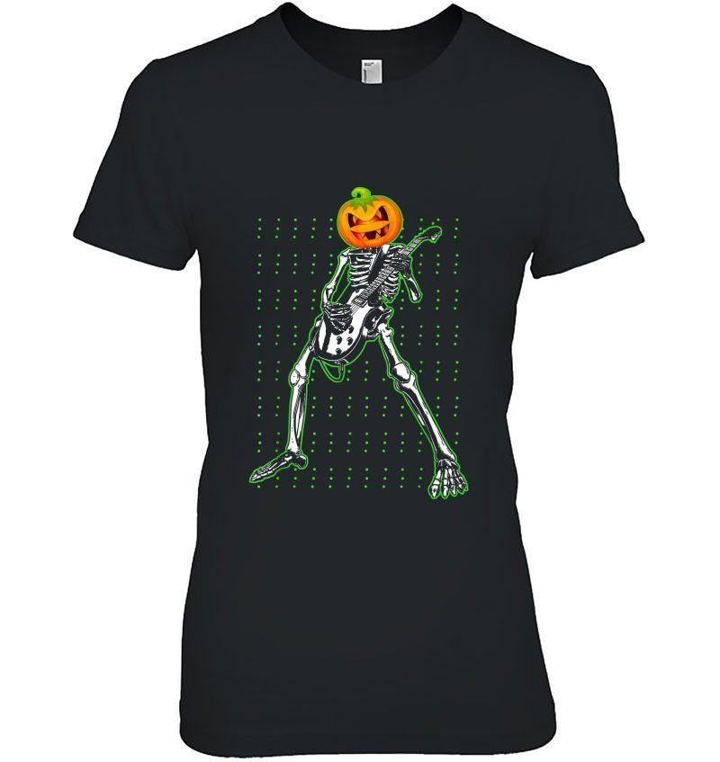 Skeleton With Pumpkin Head Play Electric Guitar Hoodie