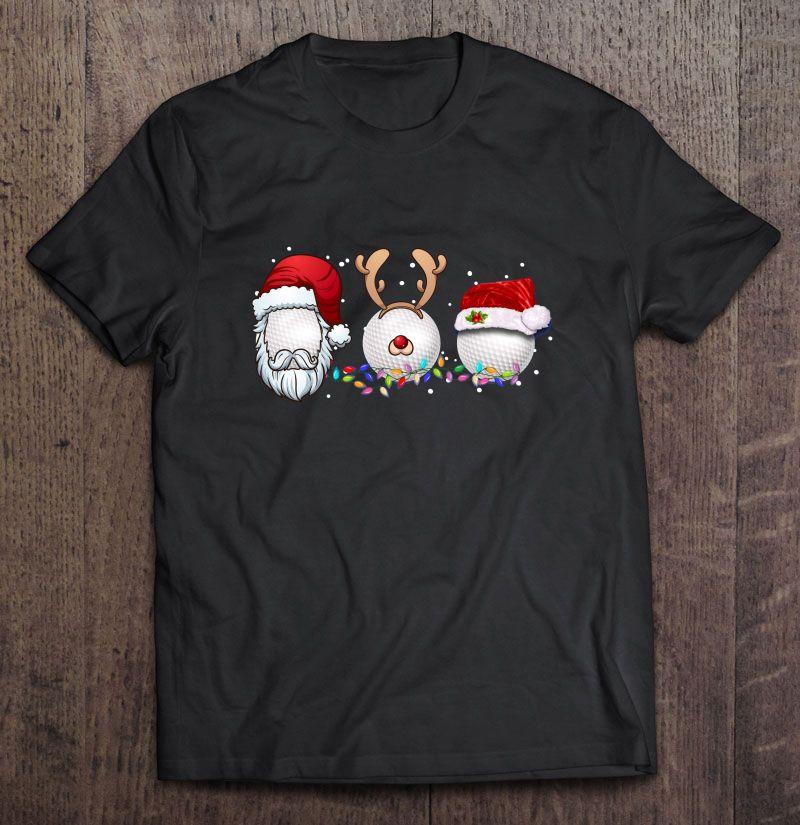 Three Golf Balls Christmas Hat Santa Xmas Shirt
