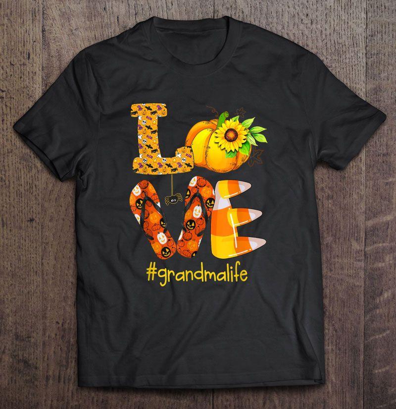 Love RV Sunflower Pumpkin Flip Flops Halloween Grandmalife Black Version Shirt