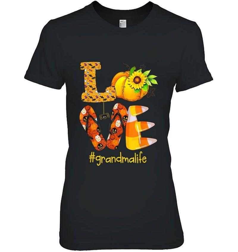 Love RV Sunflower Pumpkin Flip Flops Halloween Grandmalife Black Version Hoodie