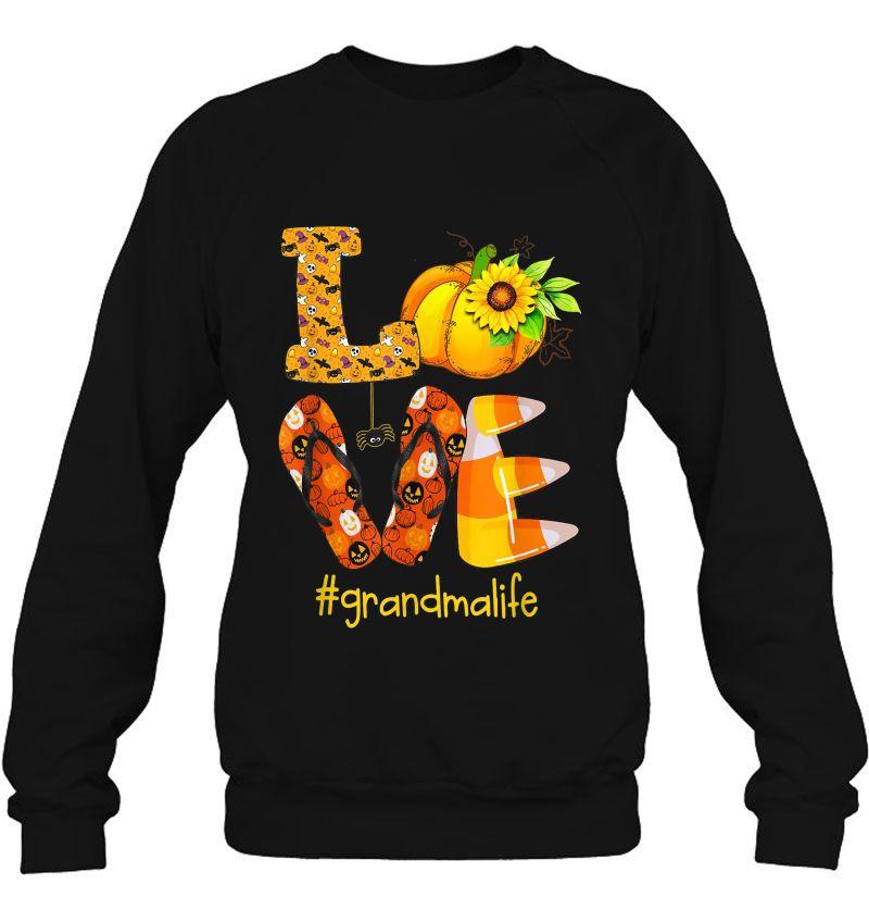 Love RV Sunflower Pumpkin Flip Flops Halloween Grandmalife Black Version Mugs