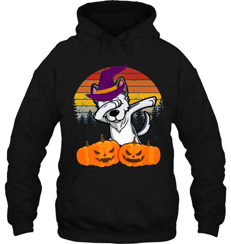 Husky Dabbing Witch Hat Pumpkin Halloween Vintage Mugs