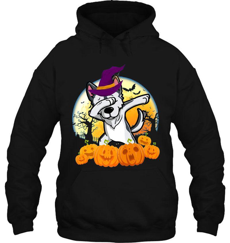 Husky Dabbing Witch Hat Halloween Moon Mugs