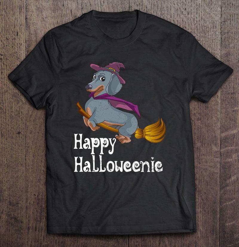 Happy Halloweenic Dachshund Flying On Broom Version Shirt