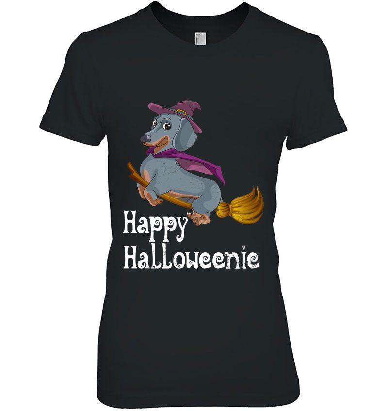 Happy Halloweenic Dachshund Flying On Broom Version Hoodie