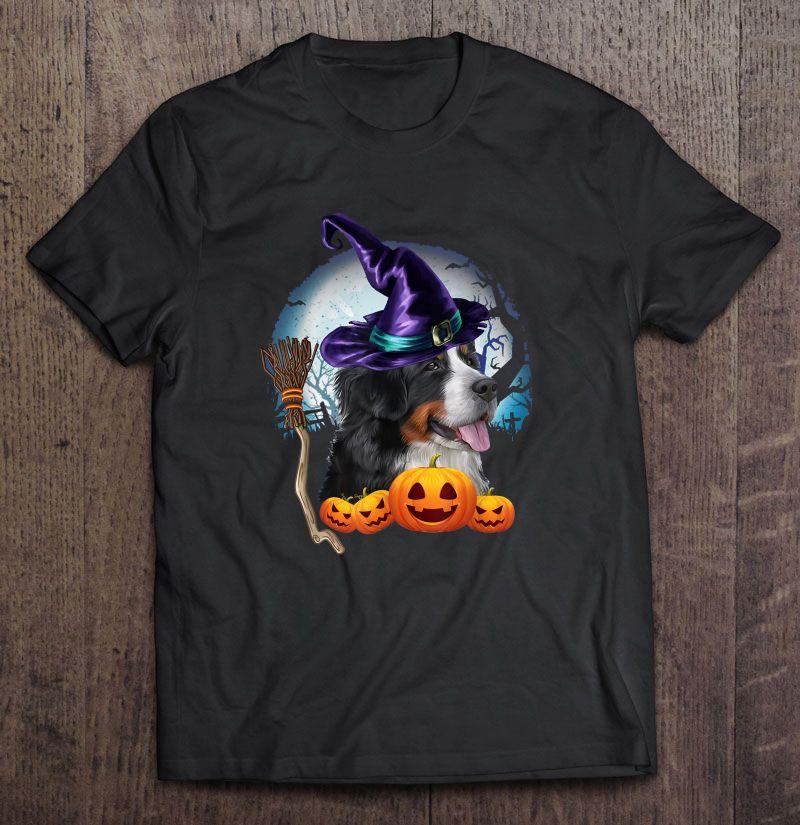 Bernese Mountain Witch Hat Dog Halloween Costume Shirt
