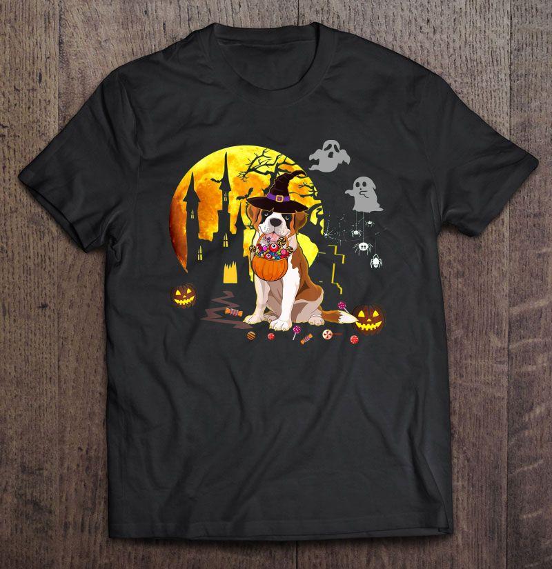 St Bernard Witch Hat And Candy Pumpkin Halloween Shirt