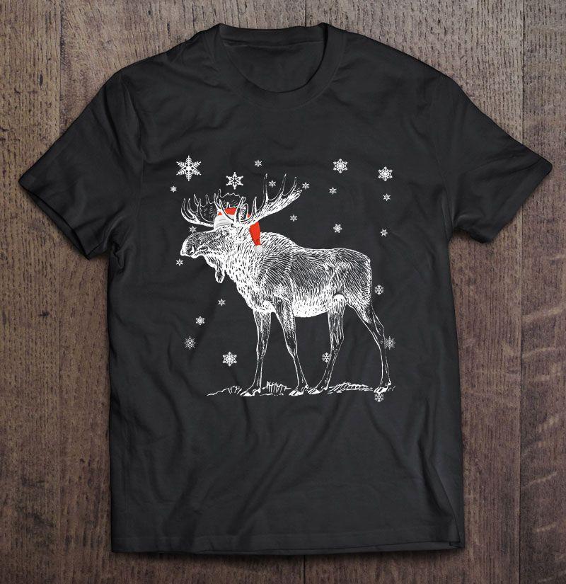 Moose Santa Hat Christmas Shirt