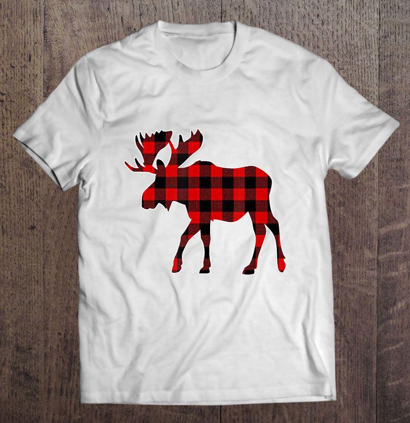 Moose Red Plaid Christmas Shirt