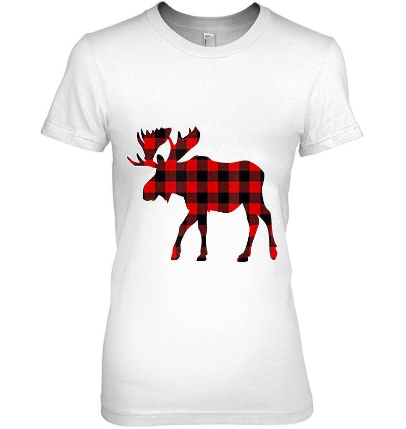 Moose Red Plaid Christmas Hoodie