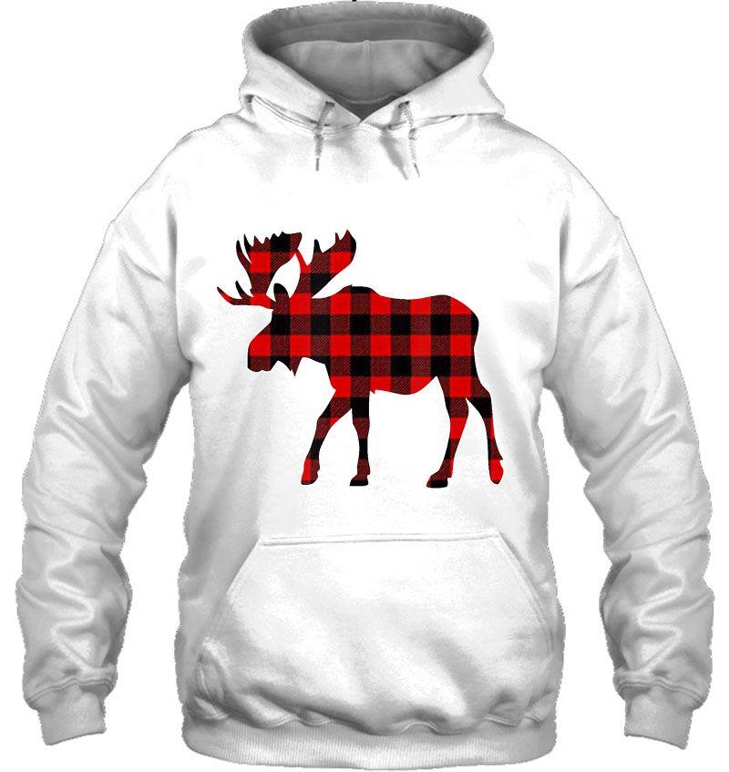 Moose Red Plaid Christmas Mugs