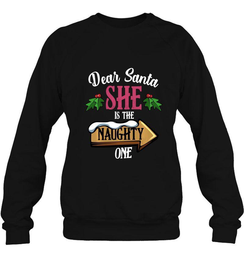 Dear Santa She Is The Naughty One Christmas Mugs