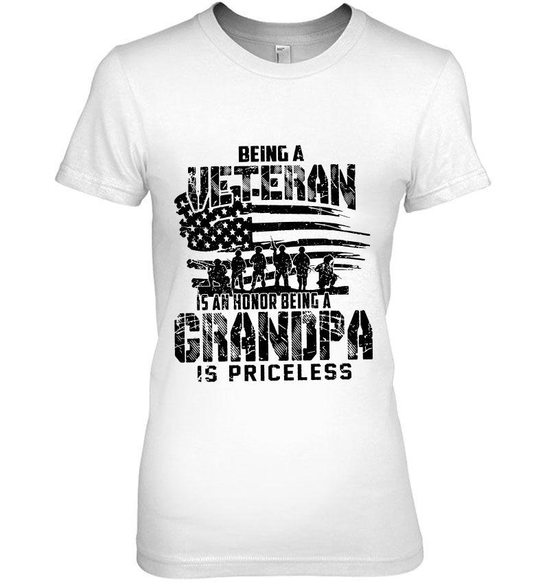 Being A Veteran Is An Honor Being A Grandpa Is Priceless US Veteran WhiteVersion Hoodie