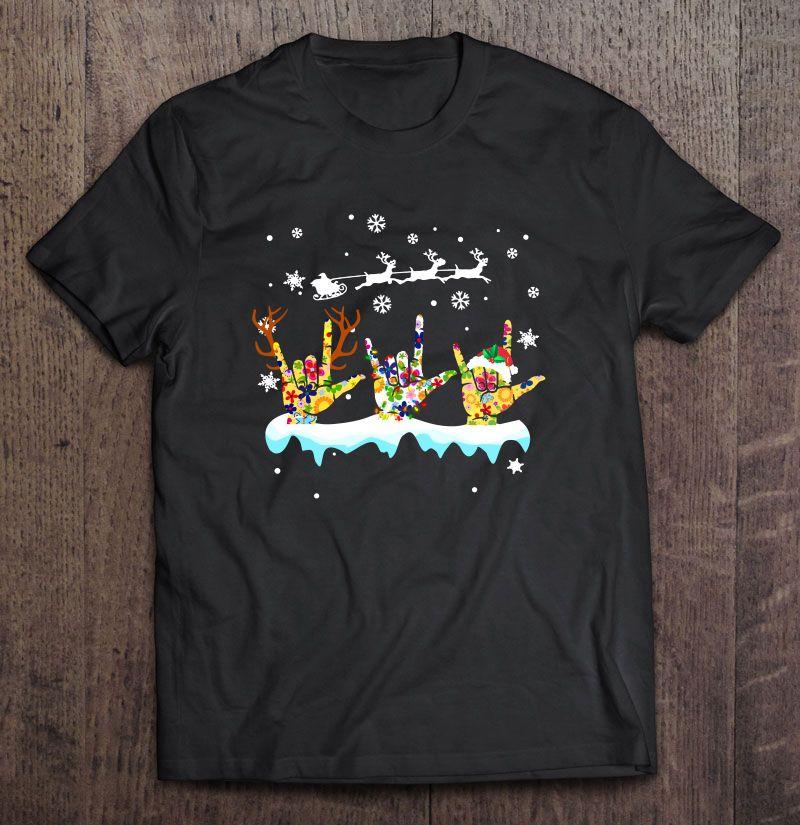 I Love Sign Language Snowflake Christmas Shirt