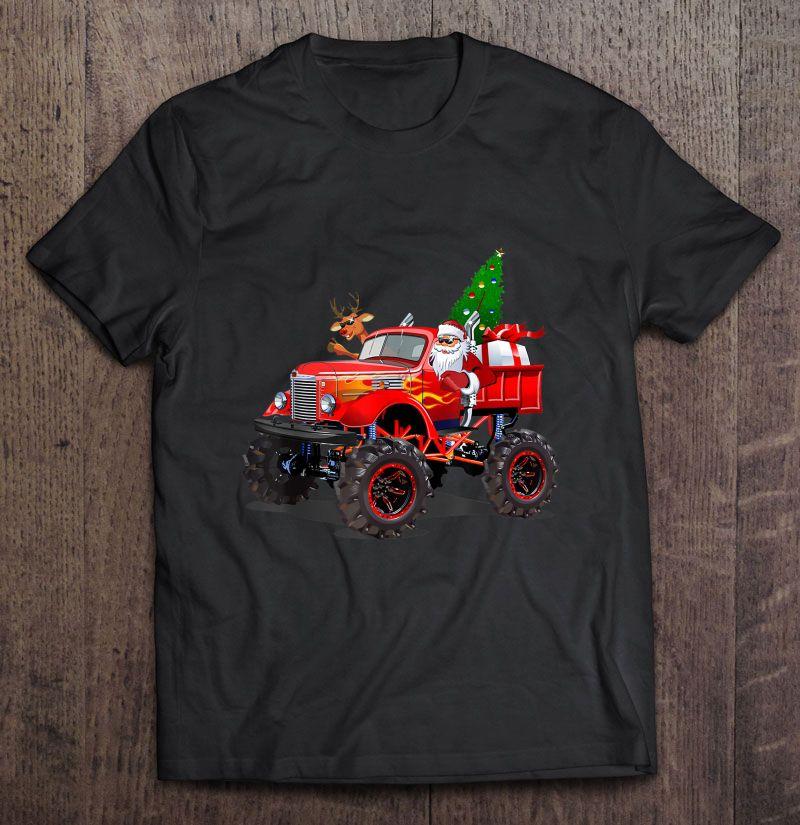 Monster Red Truck With Santa Reindeer Christmas Tree Shirt