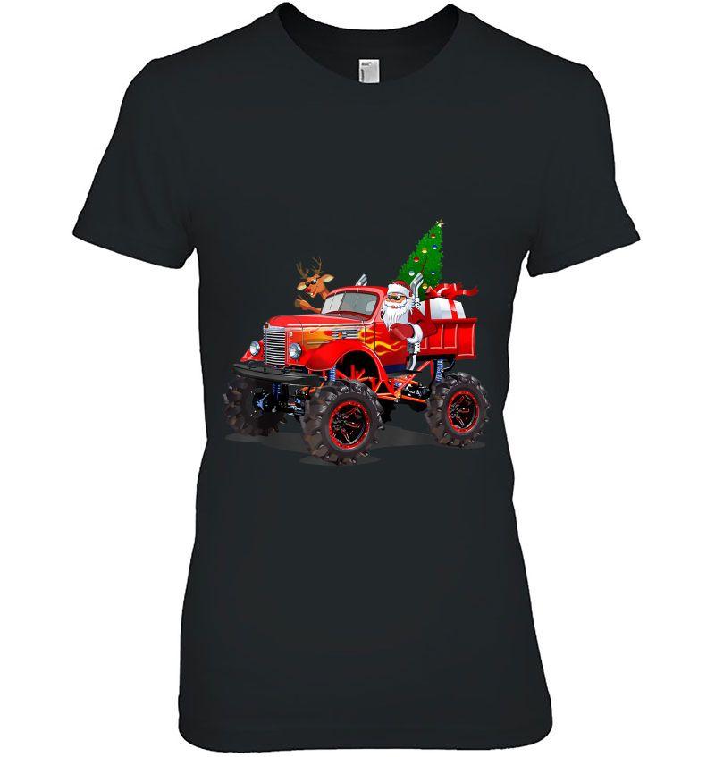 Monster Red Truck With Santa Reindeer Christmas Tree Hoodie