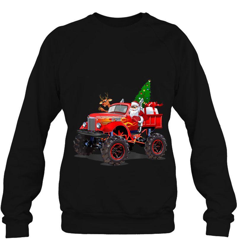 Monster Red Truck With Santa Reindeer Christmas Tree Mugs