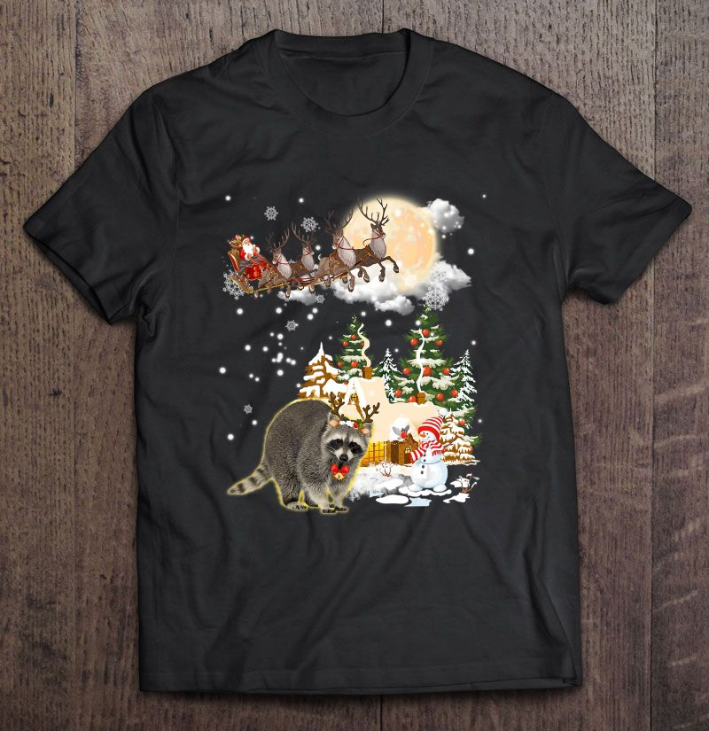 Raccoon Reindeer Santa Claus Christmas Shirt