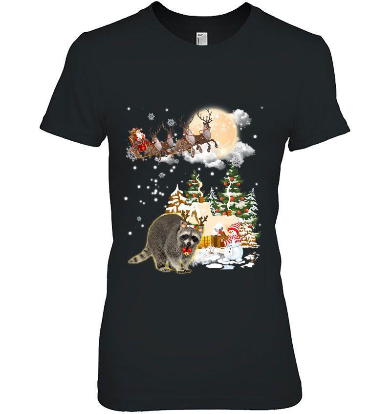 Raccoon Reindeer Santa Claus Christmas Hoodie