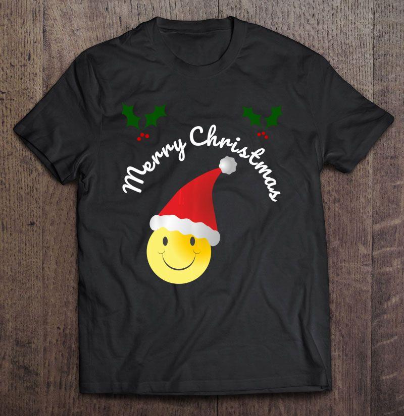 Merry Christmas Smiley Emoji Santa Hat Version Shirt
