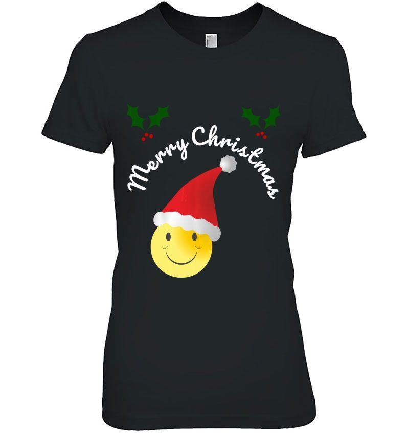 Merry Christmas Smiley Emoji Santa Hat Version Hoodie