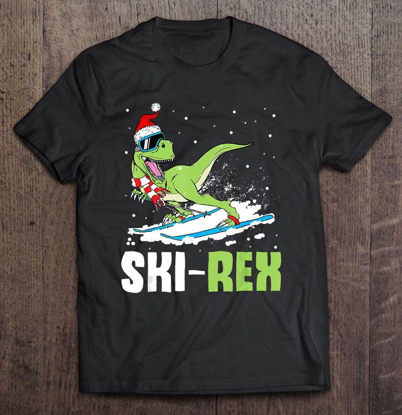 Ski Rex T-Rex Dinosaur Santa Hat Ski Lover Shirt