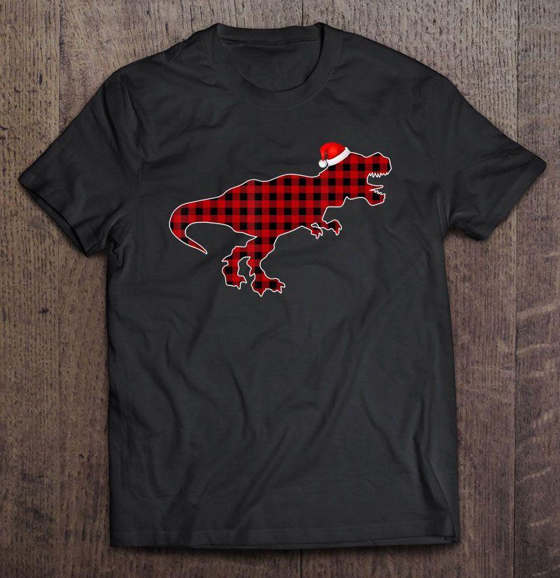 Dinosaur Red Plaid Santa Hat Shirt