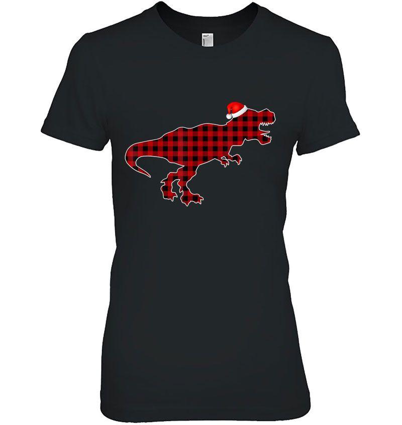 Dinosaur Red Plaid Santa Hat Hoodie