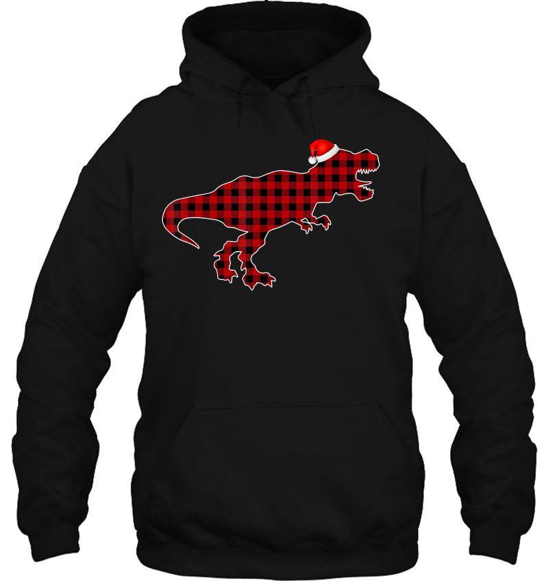 Dinosaur Red Plaid Santa Hat Mugs