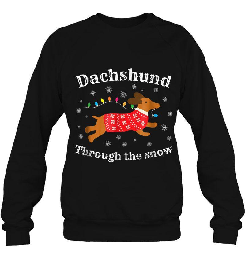 Dachshund Through The Snow Christmas Lights Version Mugs