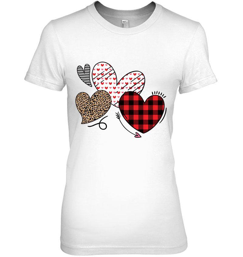 Valentine Three Hearts Leopard Buffalo Plaid Valentines day T-Shirt