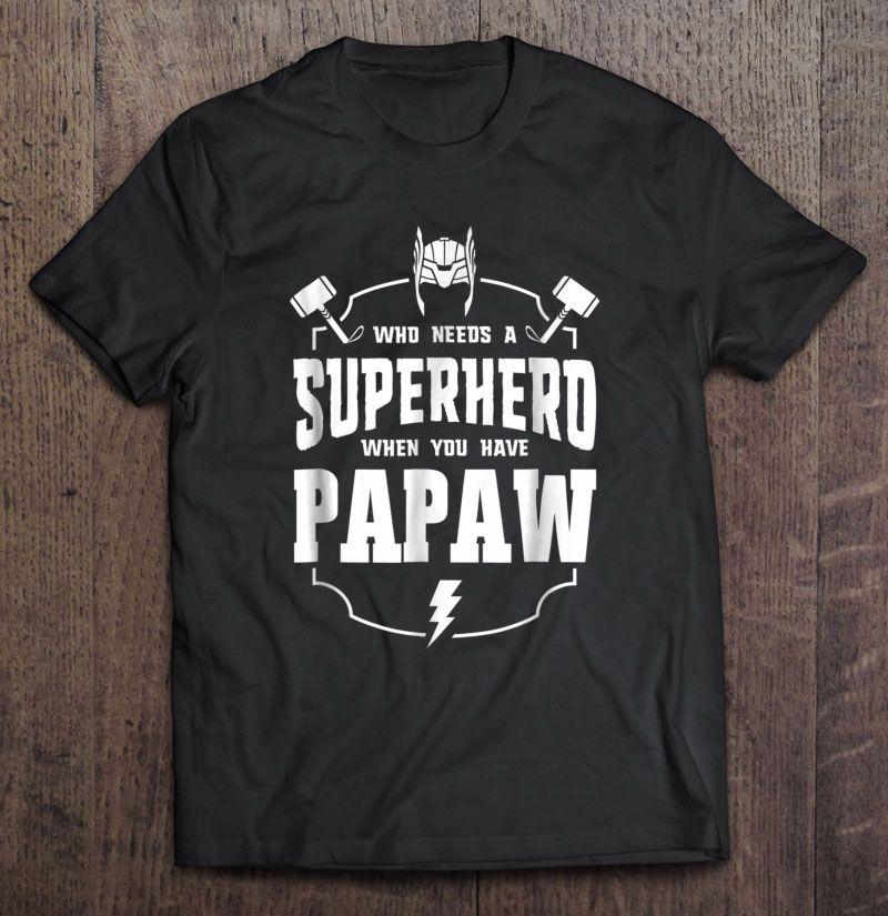 Clickbuypro 2d T-shirt Superhero Papaw Fathers Day Grandpa Gift Ideas Men Shirt Blue Hoodie M