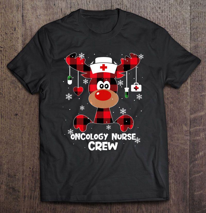 Oncology Nurse Crew Buffalo Plaid Reindeer Shirt