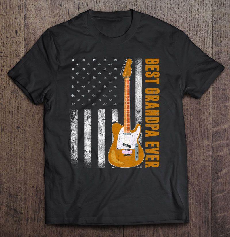 Clickbuypro 2d T-shirt Mens Best Grandpa Ever Usa Flag Tee Guitarist Guitar Lovers Gifts Shirt Blue Hoodie 2xl