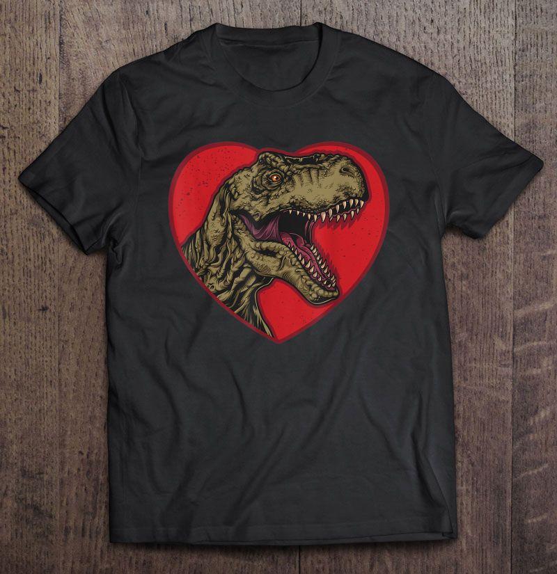 T-Rex Love Heart Dinosaur Valentines Day Shirt