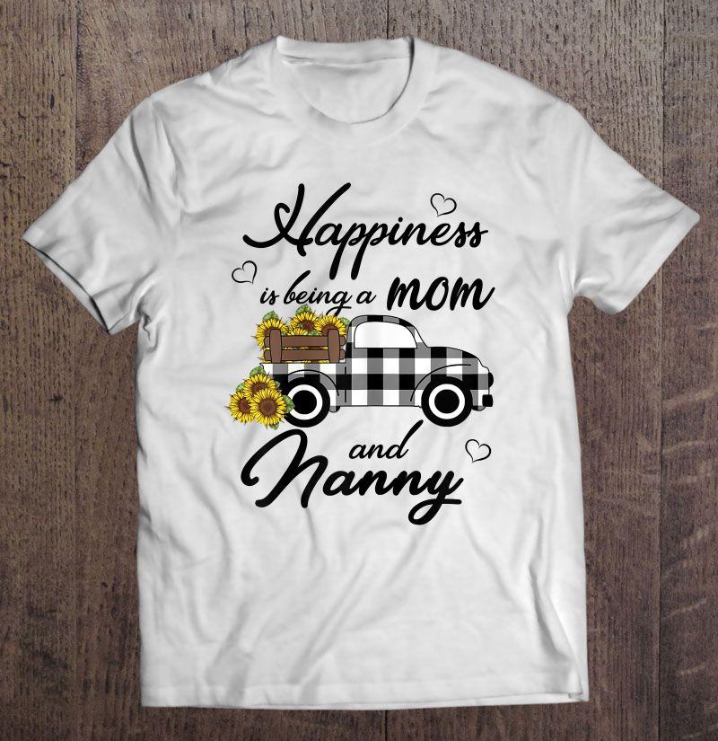 Clickbuypro 2d T-shirt Womens Sunflower Grandma Shirt Happiness Is Being A Mom And Nanny Shirt Blue Shirt 4xl