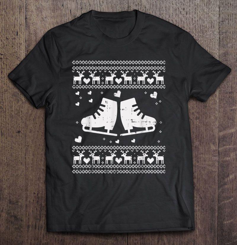 Ugly Christmas Ice Skater Shirt Skate Skating Shoe Girl Gift Shirt