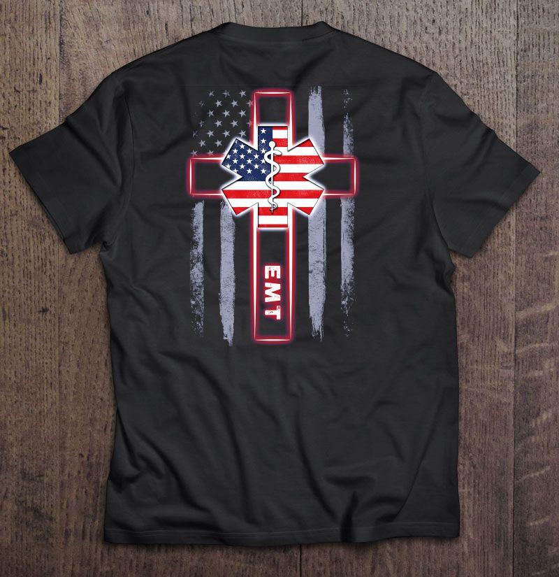EMT Emergency Medical Technician American Flag And Cross Version Shirt