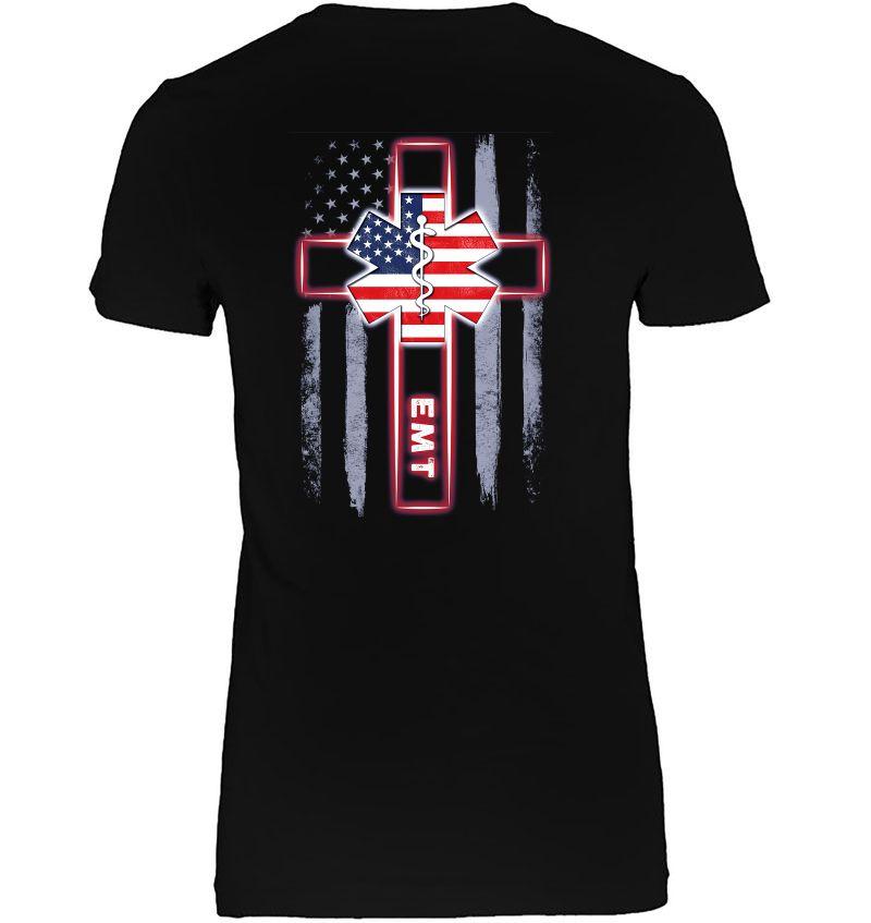EMT Emergency Medical Technician American Flag And Cross Version Hoodie