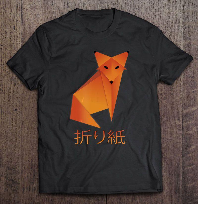 Origami Fox Japanese Calligraphy Kanji Shirt