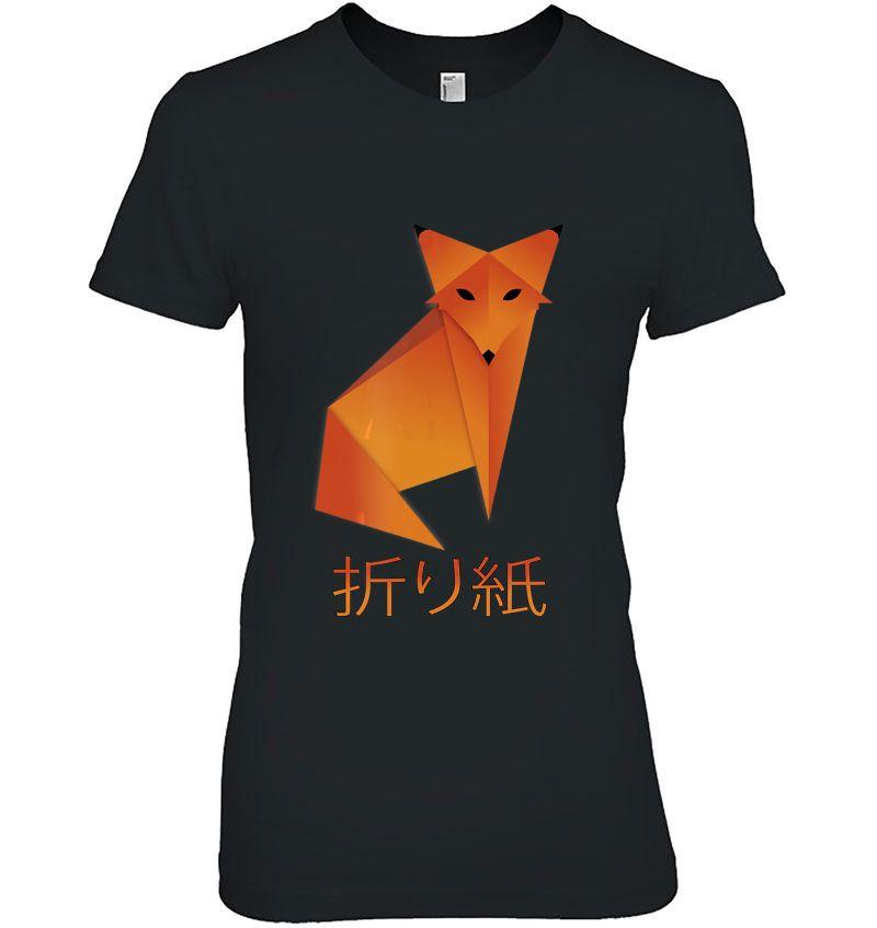 Origami Fox Japanese Calligraphy Kanji Hoodie