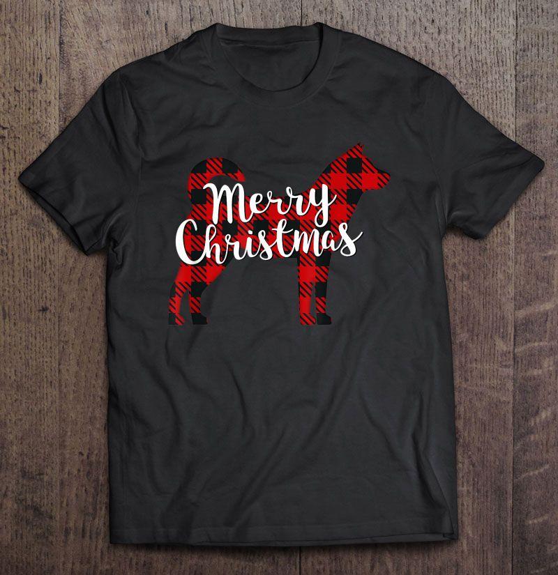 Merry Christmas Korean Jindo Silhouette Plaid Version Shirt