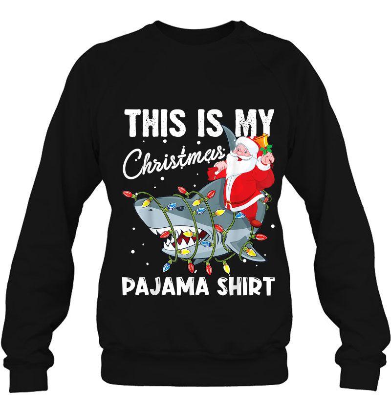This Is My Christmas Pajama Shirt Santa Riding Shark Mugs