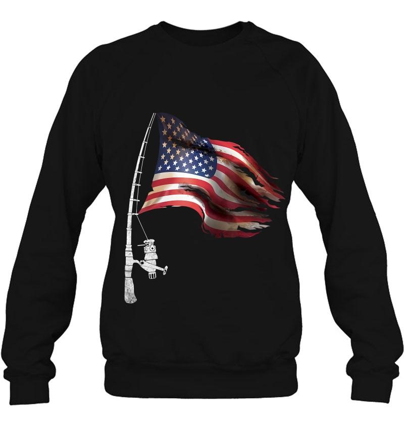 Fishing American Flag Fisherman Patriotic day 4th of July T-Shirt
