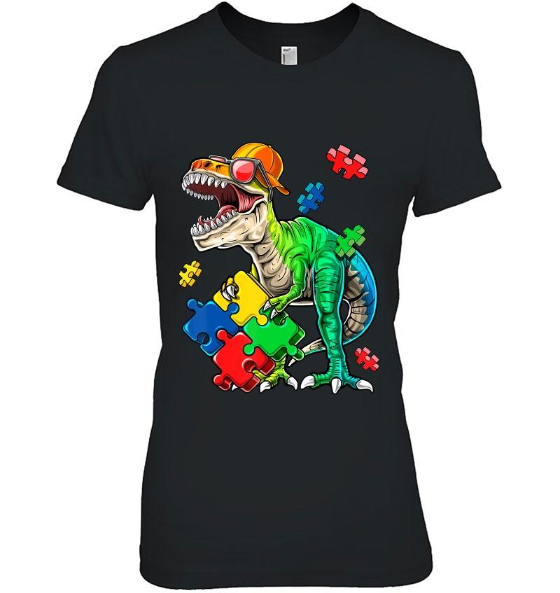 Autismsarus Rex Rainbow Jigsaw Autisme Dinosaure Enfants Sweat à capuche