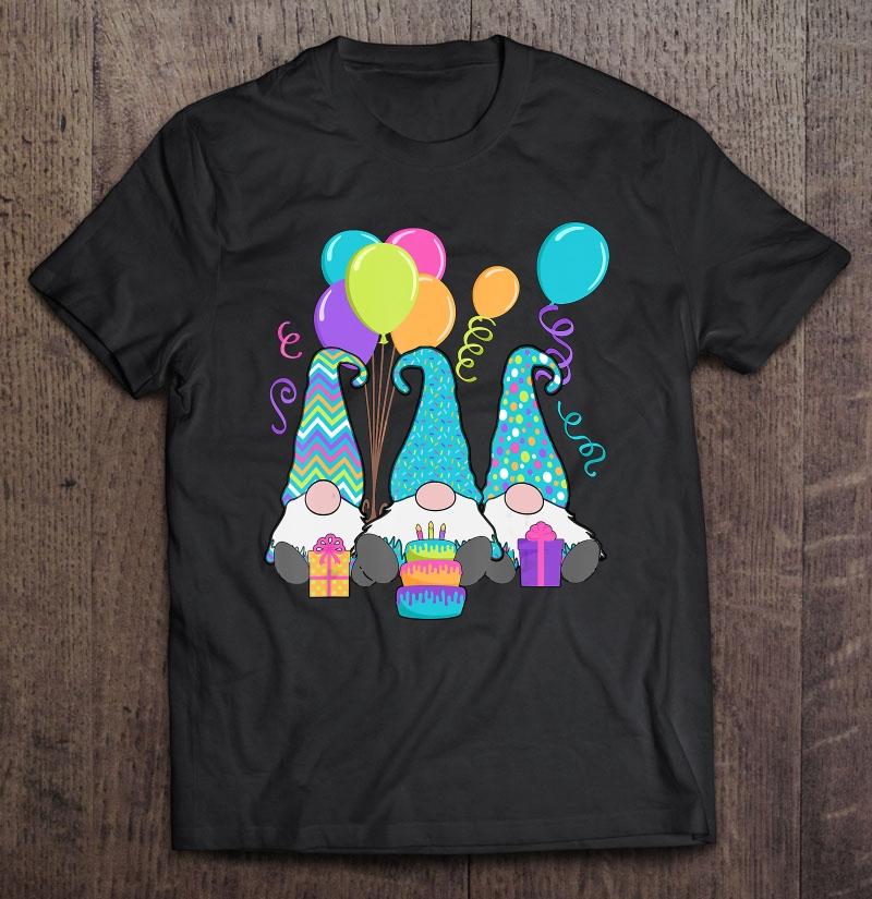 3 Birthday Gnomes Birthday Cake, Presents, Confetti Shirt
