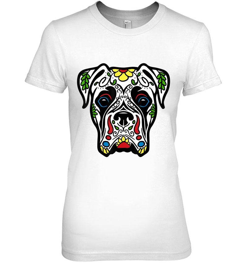 Boxer In White - Dead Sugar Skull Dog Gift Hoodie