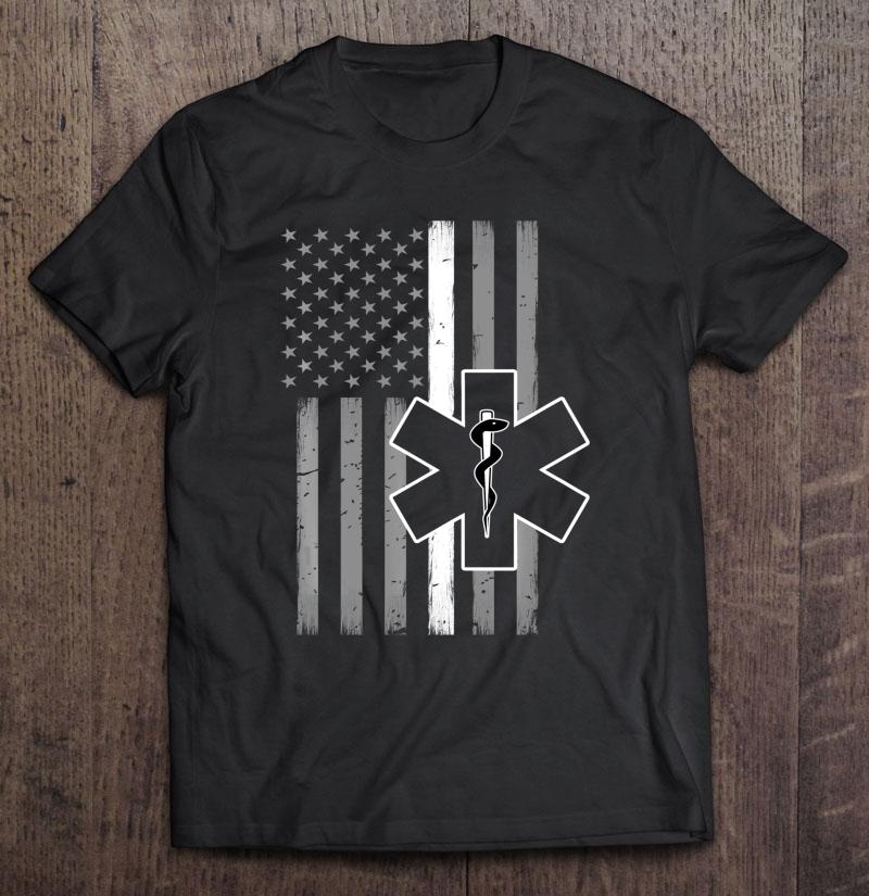 Emt Thin White Line Flag Medical Shirt
