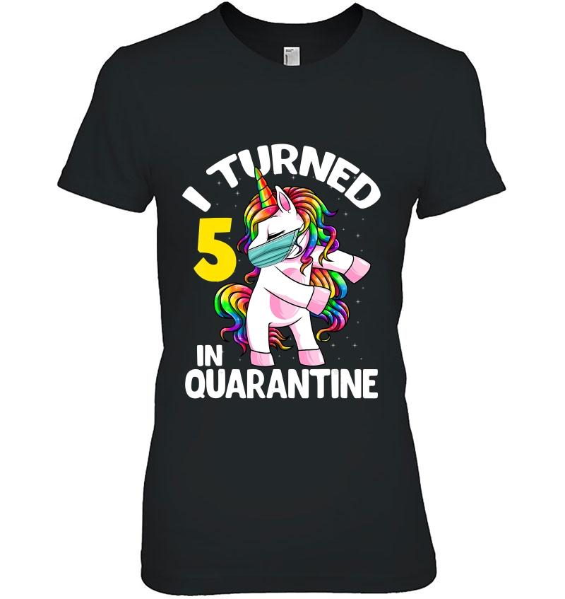 I Turned 5 In Quarantine Flossing Unicorn 5Th Birthday Gift Hoodie