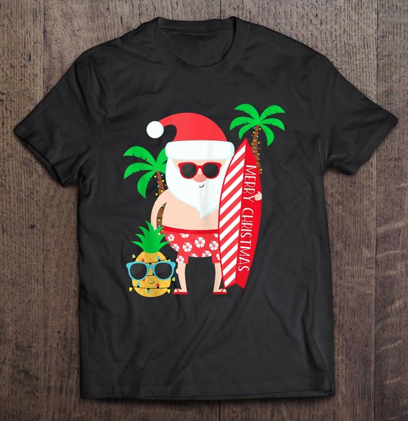 Gift For Men Women Couples Santa Surfing Christmas In July Shirt